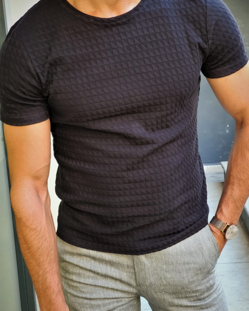 Black Slim Fit Round Neck T-Shirt by GentWith.com with Free Worldwide Shipping