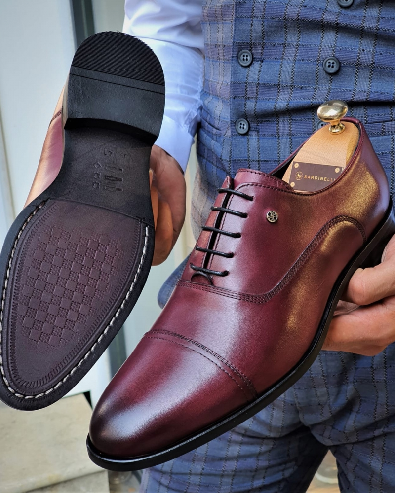 Burgundy Cap Toe Wholecut Oxfords by GentWith.com with Free Worldwide Shipping