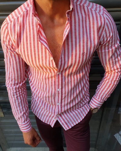 Red Slim Fit Striped Shirt by GentWith.com with Free Worldwide Shipping