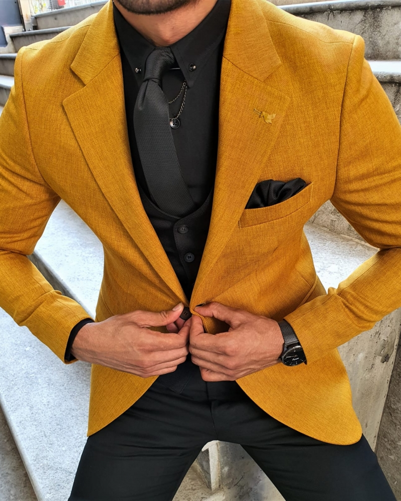 Mustard Slim Fit Blazer by GentWith.com with Free Worldwide Shipping