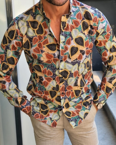 Navy Blue Slim Fit Floral Shirt by GentWith.com with Free Worldwide Shipping