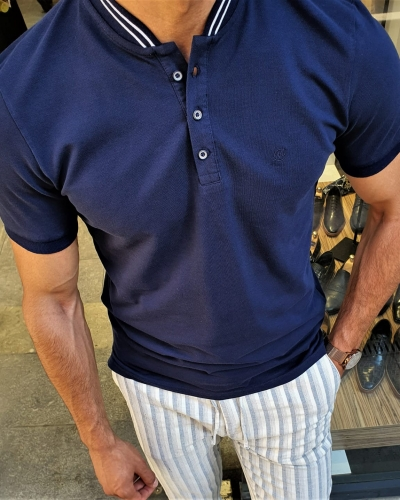 Navy Blue Slim Fit Polo Shirt by GentWith.com with Free Worldwide Shipping