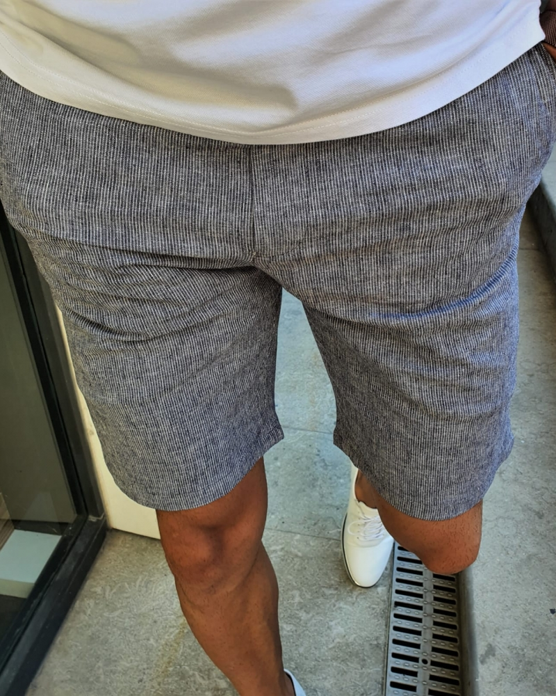 Navy Blue Slim Fit Shorts by GentWith.com with Free Worldwide Shipping