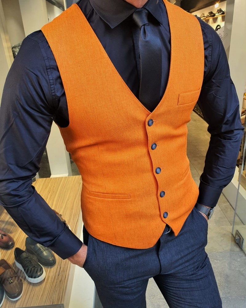 Orange Slim Fit Vest by GentWith.com with Free Worldwide Shipping