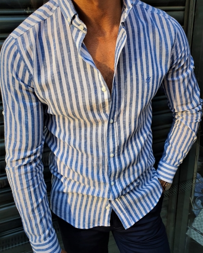 Blue Slim Fit Striped Shirt by GentWith.com with Free Worldwide Shipping