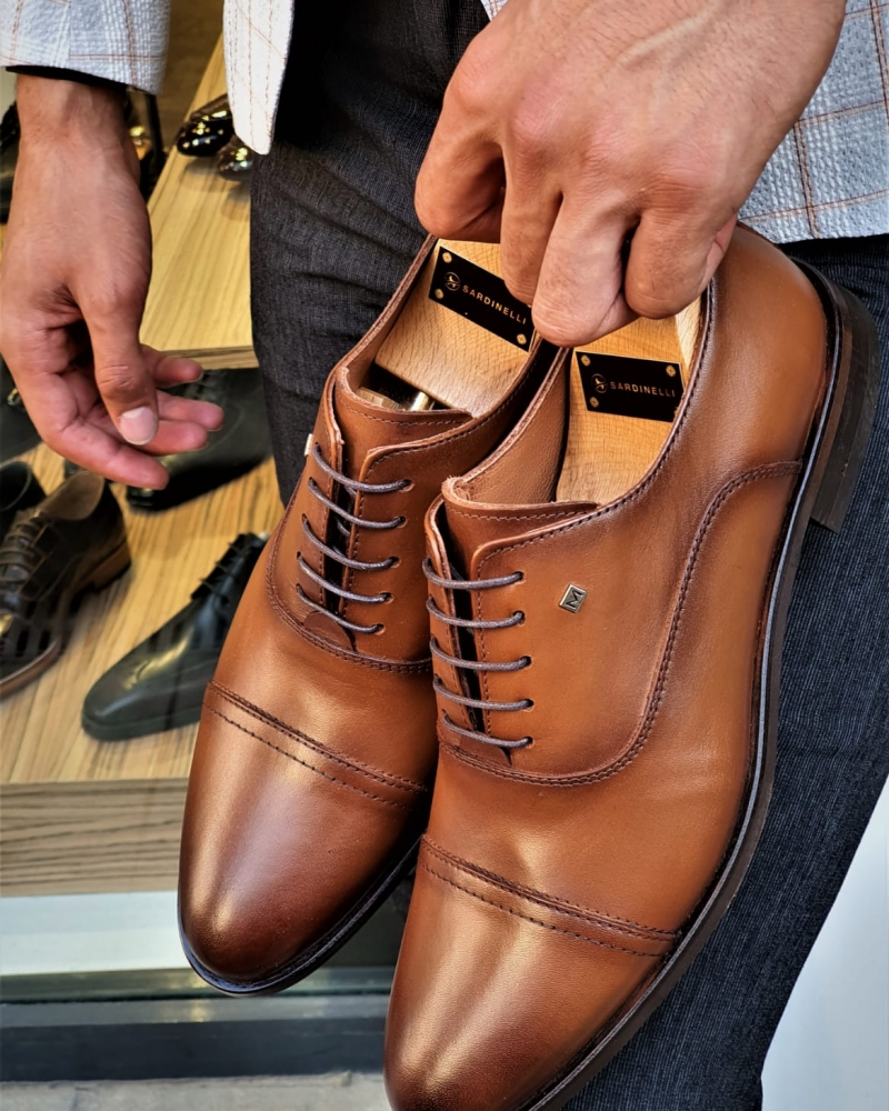 Tan Cap Toe Wholecut Oxfords by GentWith.com with Free Worldwide Shipping