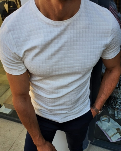 White Slim Fit Round Neck T-Shirt by GentWith.com with Free Worldwide Shipping