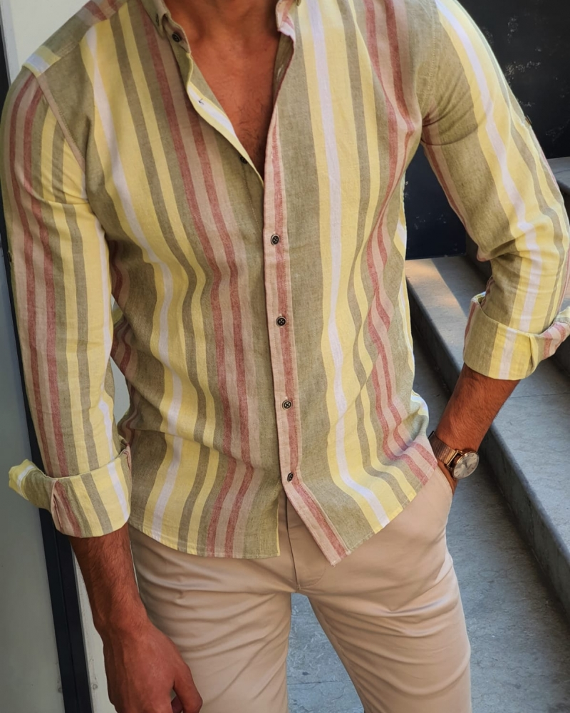 Yellow Slim Fit Shirt by GentWith.com with Free Worldwide Shipping