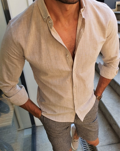 Beige Slim Fit Button Collar Shirt by GentWith.com with Free Worldwide Shipping