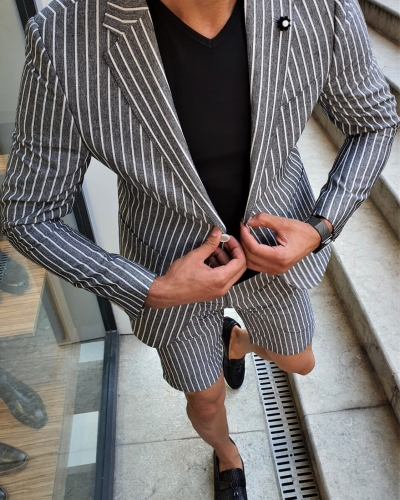 Black Slim Fit Striped Suit by GentWith.com with Free Worldwide Shipping