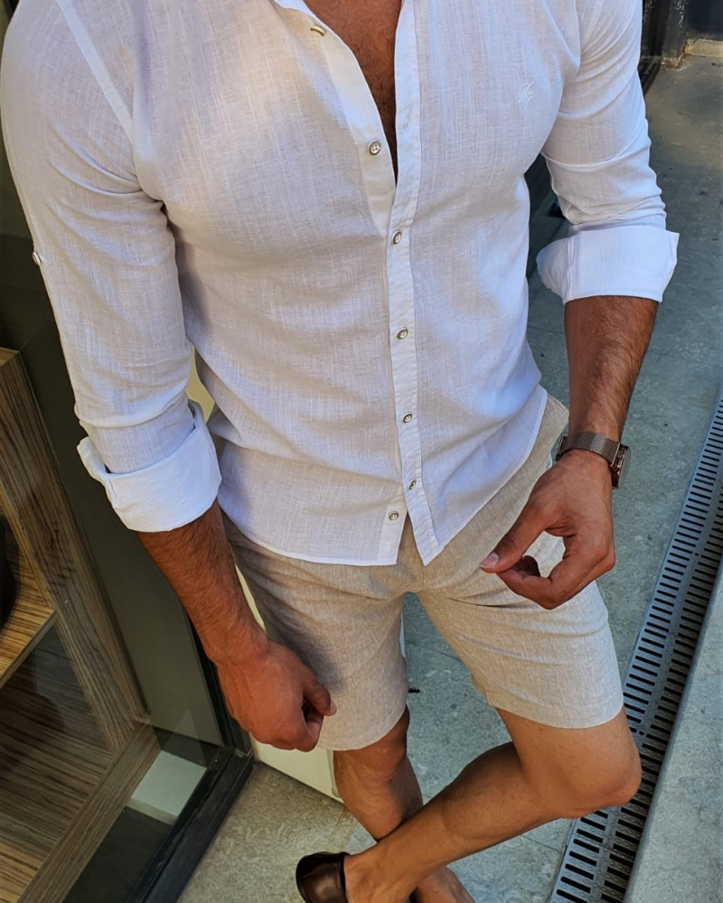 White Slim Fit Button Collar Shirt by GentWith.com with Free Worldwide Shipping