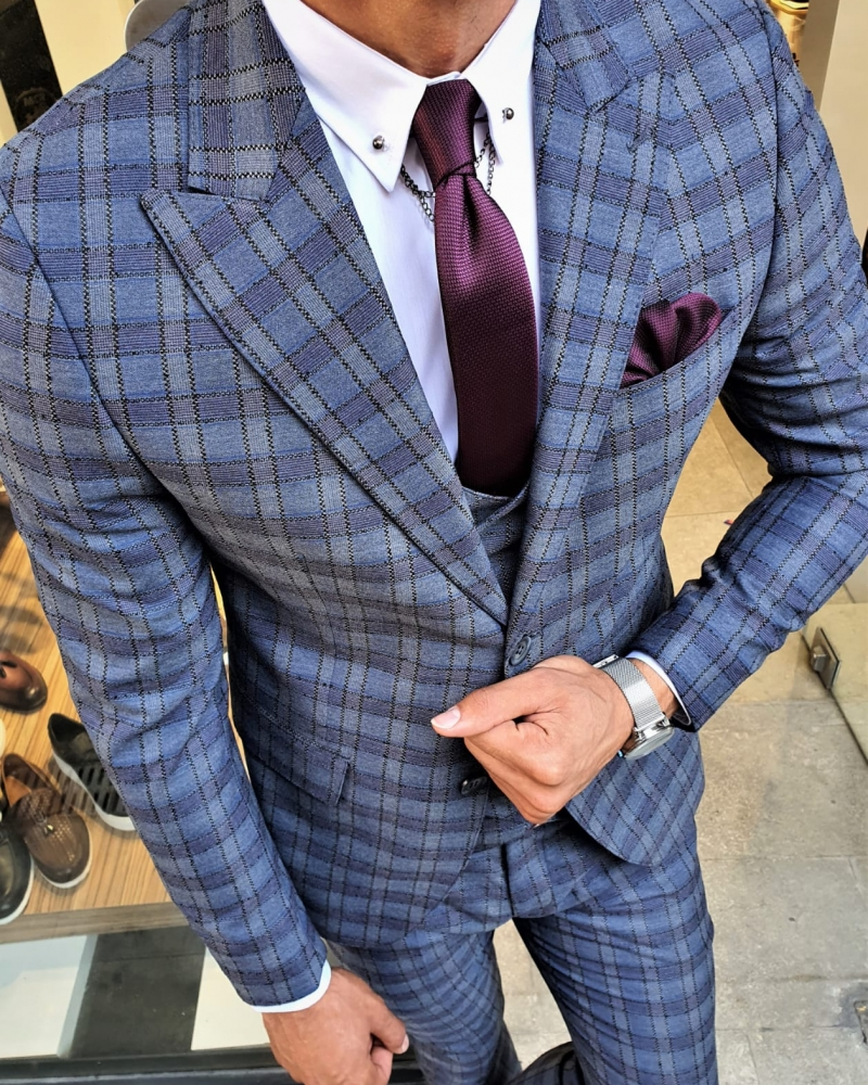 Indigo Slim Fit Plaid Suit by GentWith.com with Free Worldwide Shipping