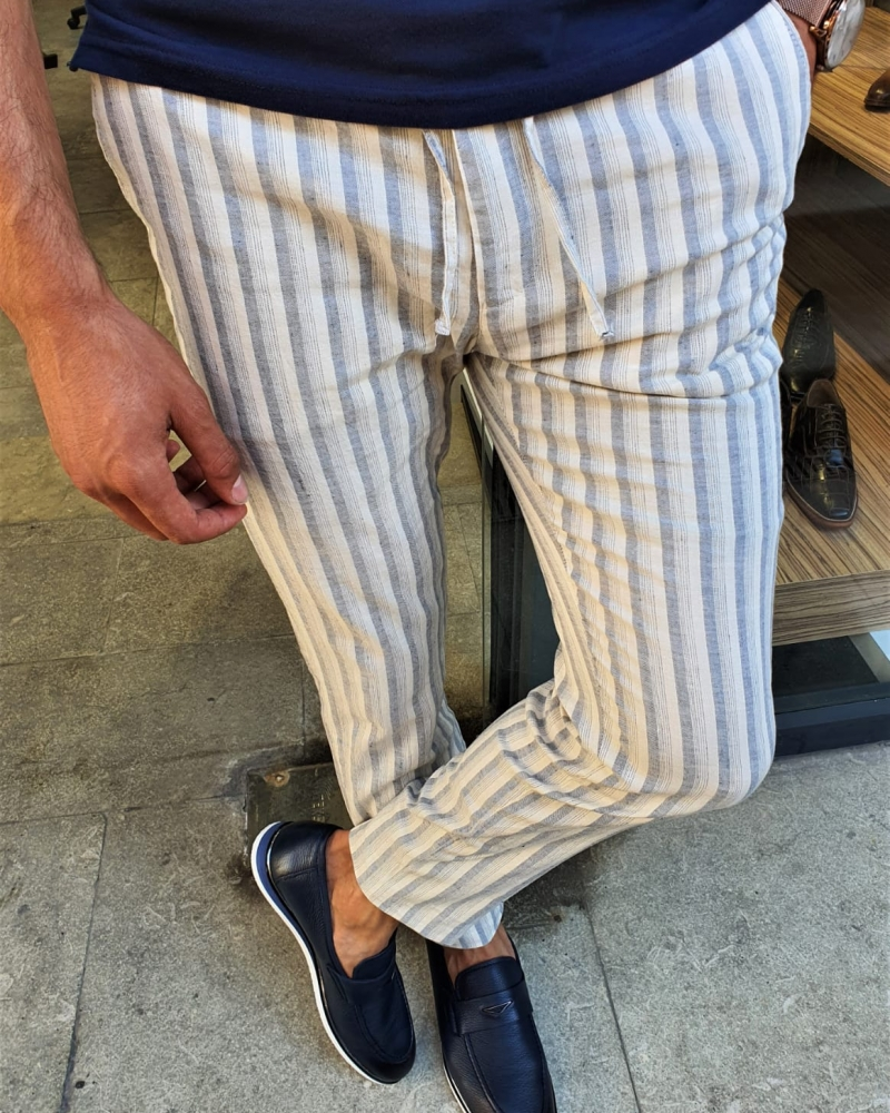 Navy Blue Slim Fit Laced Striped Linen Pants by GentWith.com with Free Worldwide Shipping