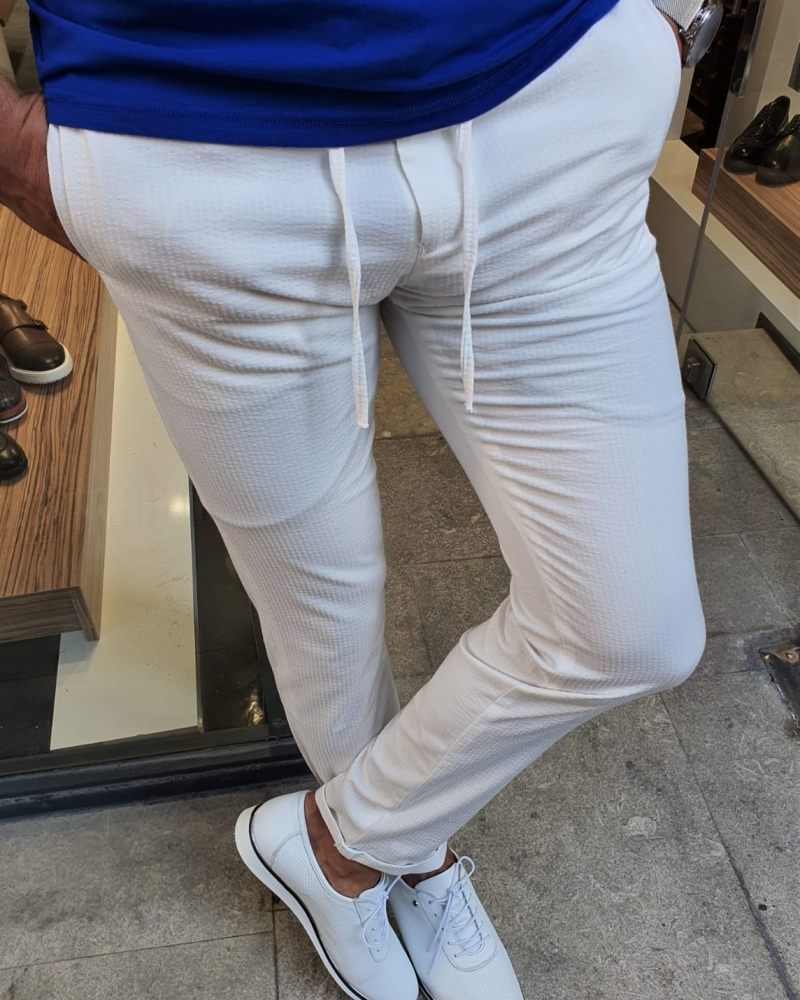 White Slim Fit Laced Cotton Pants by GentWith.com with Free Worldwide Shipping