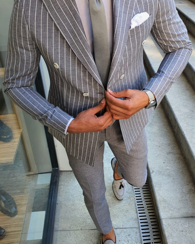 White Slim Fit Pinstripe Double Breasted Suit by GentWith.com with Free Worldwide Shipping