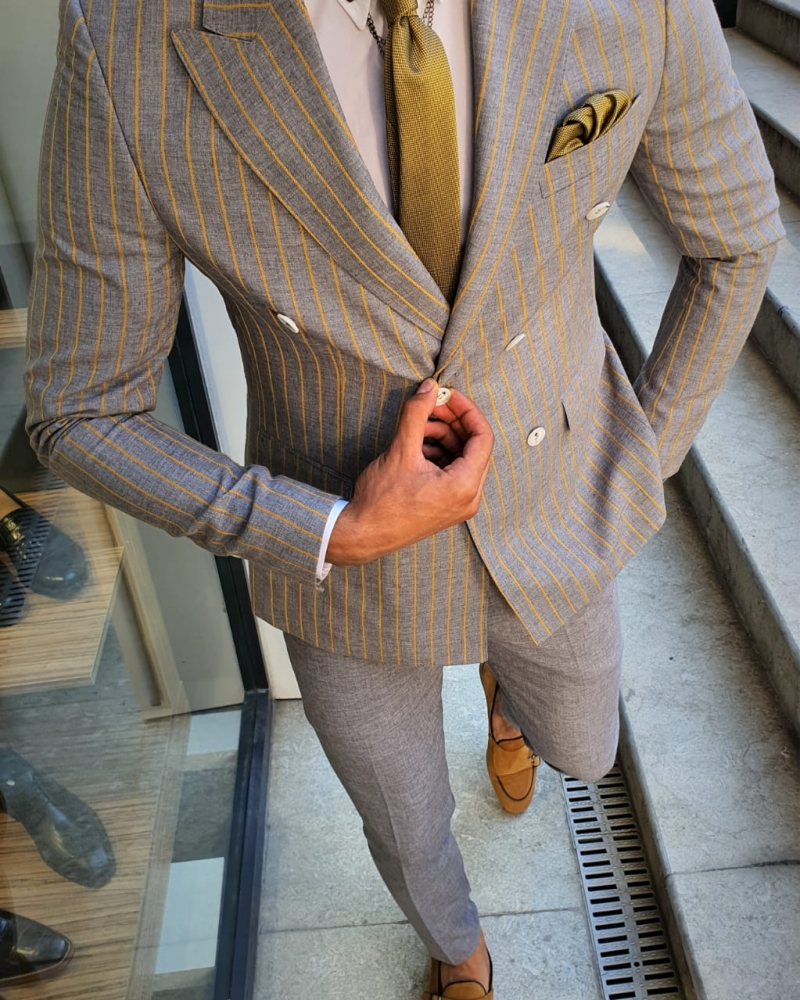 Yellow Slim Fit Pinstripe Double Breasted Suit by GentWith.com with Free Worldwide Shipping
