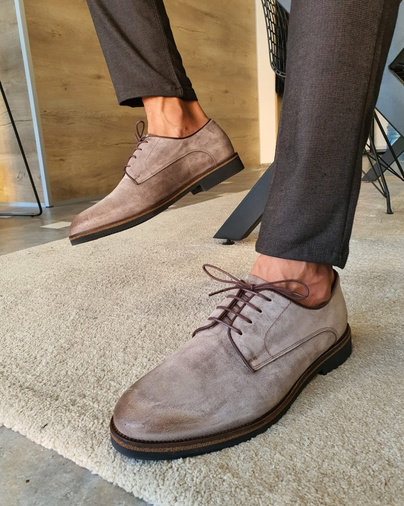 Beige Suede Derbys by GentWith.com with Free Worldwide Shipping