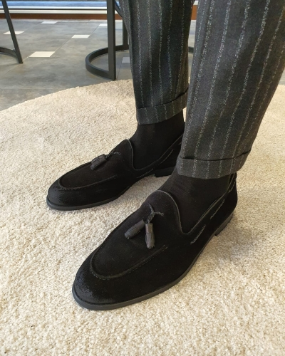 Black Suede Tassel Loafers by GentWith.com with Free Worldwide Shipping