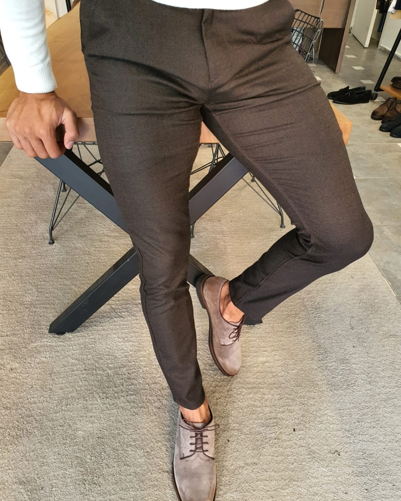 Brown Slim Fit Pants by GentWith.com with Free Worldwide Shipping