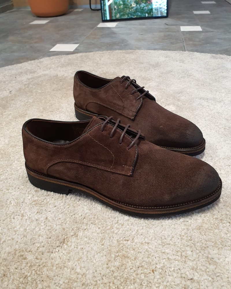 Brown Suede Derbys by GentWith.com with Free Worldwide Shipping
