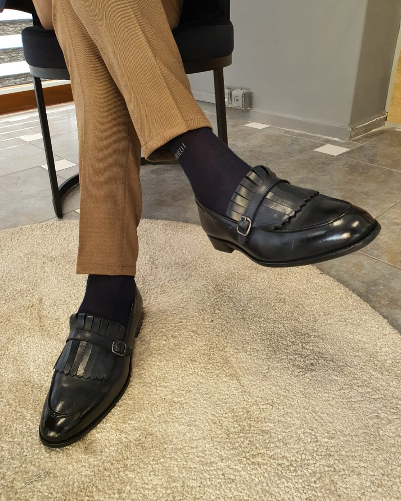 Dark Blue Kilt Loafers by GentWith.com with Free Worldwide Shipping