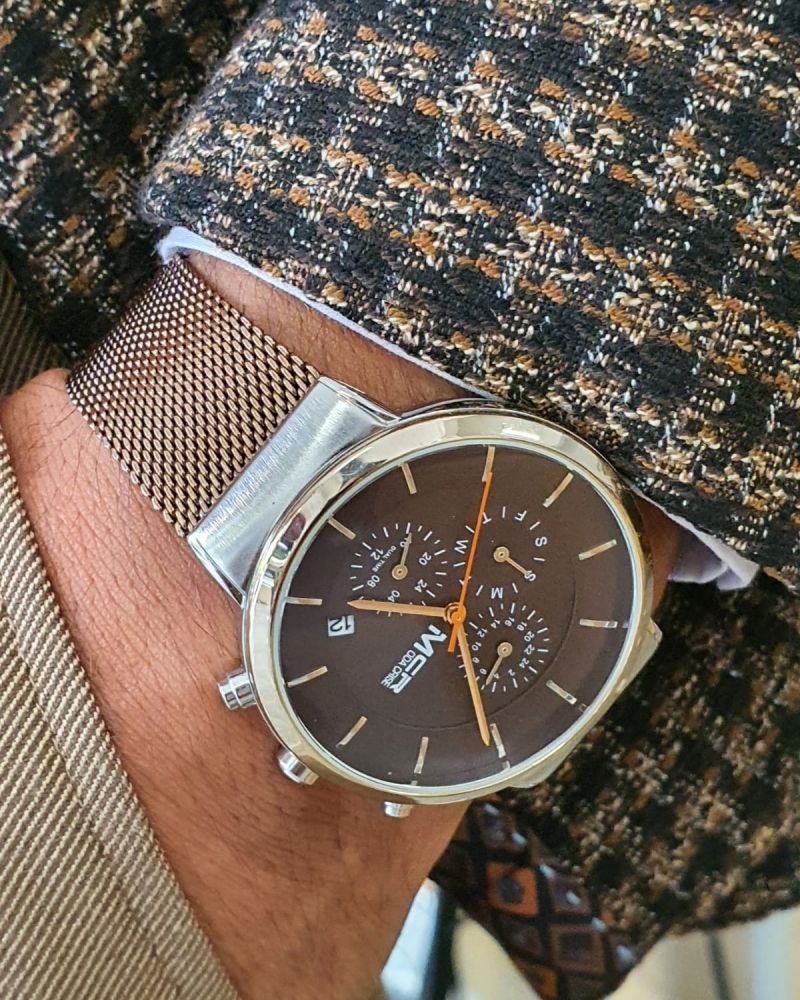 Gold Round Wrist Watch by GentWith.com with Free Worldwide Shipping