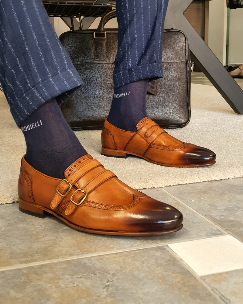 Tan Buckle Wingtip Loafers by GentWith.com with Free Worldwide Shipping