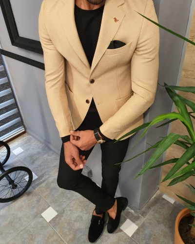 Beige Slim Fit Blazer by GentWith.com with Free Worldwide Shipping