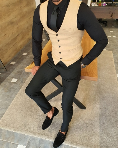 Beige Slim Fit Vest by GentWith.com with Free Worldwide Shipping