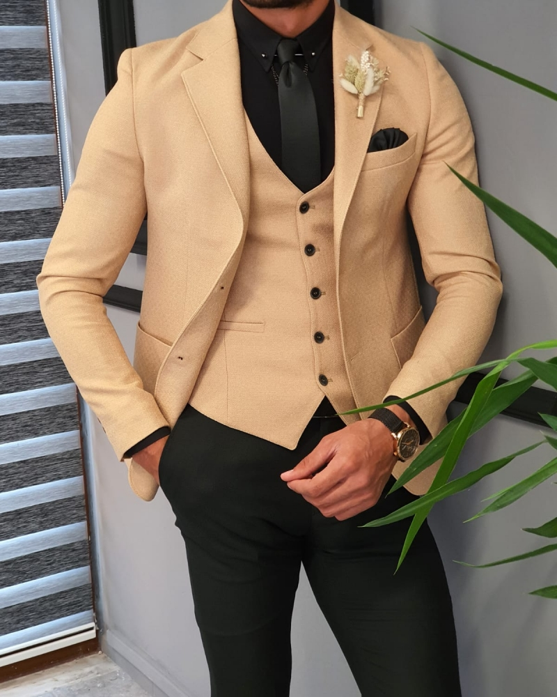 Beige Slim Fit Suit by GentWith.com with Free Worldwide Shipping