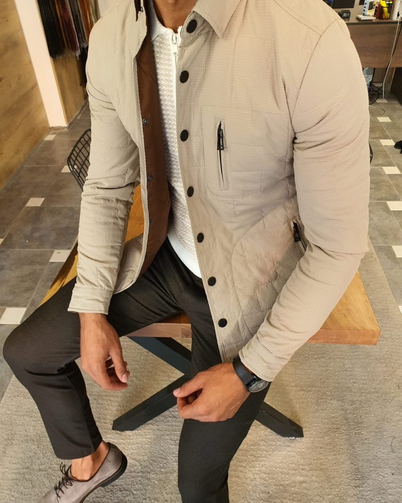 Beige Slim Fit Zipper Coat by GentWith.com with Free Worldwide Shipping