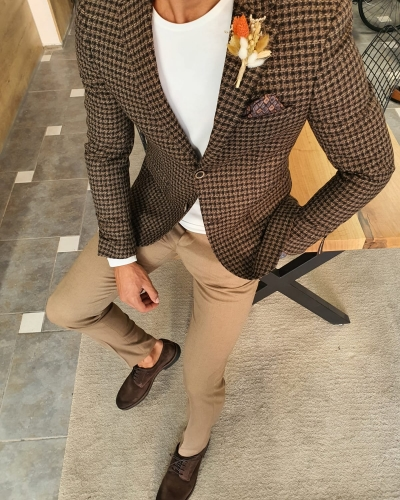 Brown Slim Fit Plaid Wool Blazer by GentWith.com with Free Worldwide Shipping