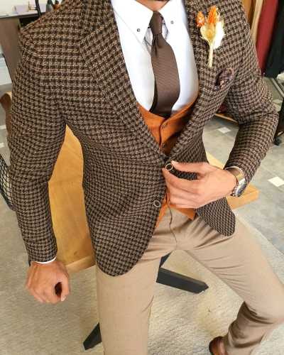 Brown Slim Fit Plaid Wool Suit by GentWith.com with Free Worldwide Shipping