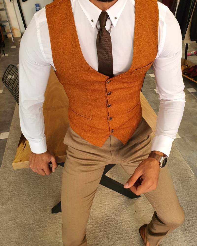 Camel Slim Fit Vest by GentWith.com with Free Worldwide Shipping