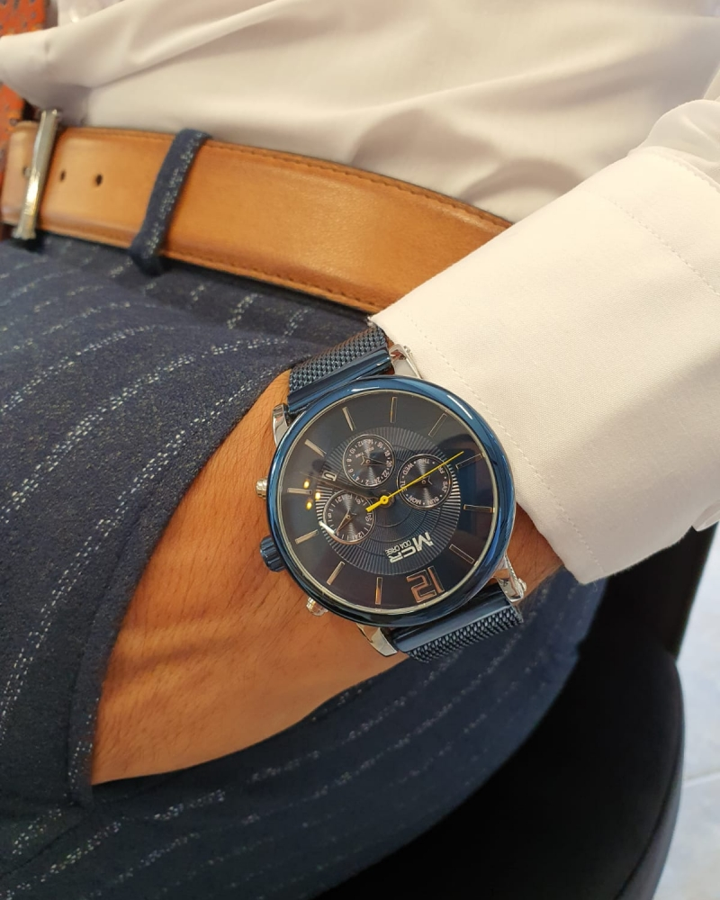 Navy Blue Automatic Round Wrist Watch by GentWith.com with Free Worldwide Shipping