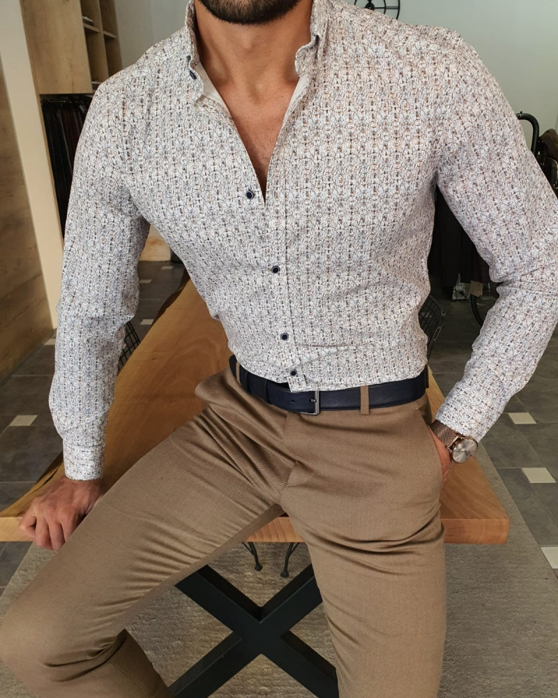 White Slim Fit Floral Striped Shirt by GentWith.com with Free Worldwide Shipping