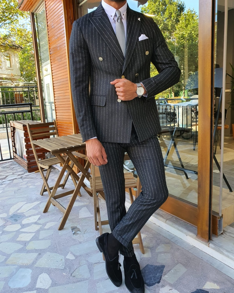 Black Slim Fit Pinstripe Double Breasted Suit by GentWith.com with Free Worldwide Shipping