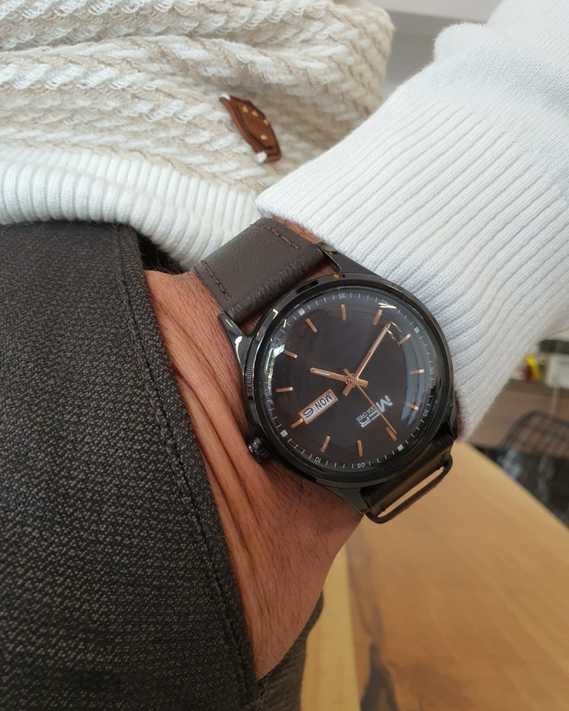 Brown Automatic Round Wrist Watch by GentWith.com with Free Worldwide Shipping