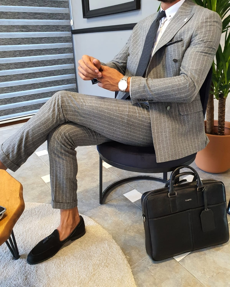 Gray Slim Fit Pinstripe Double Breasted Suit by GentWith.com with Free Worldwide Shipping