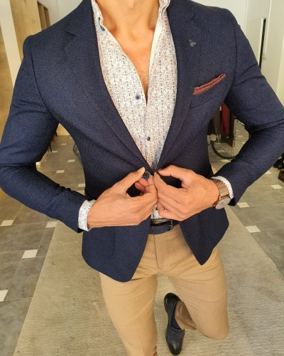 Navy Blue Slim Fit Blazer by GentWith.com with Free Worldwide Shipping