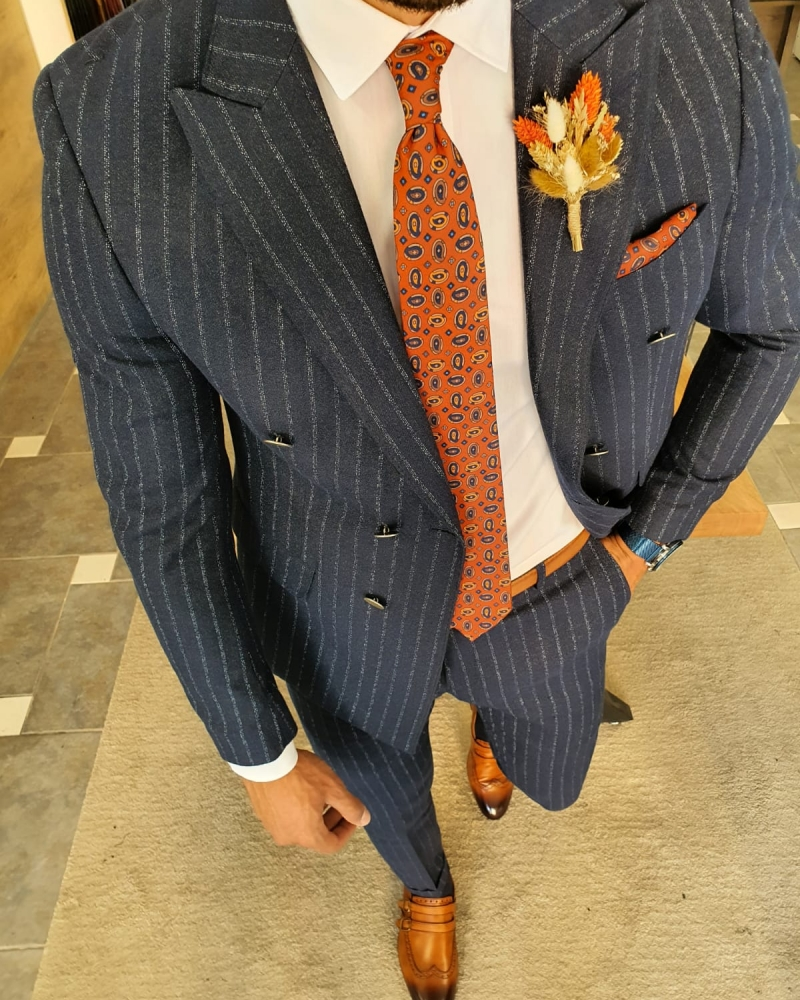 Navy Blue Slim Fit Pinstripe Double Breasted Suit by GentWith.com with Free Worldwide Shipping