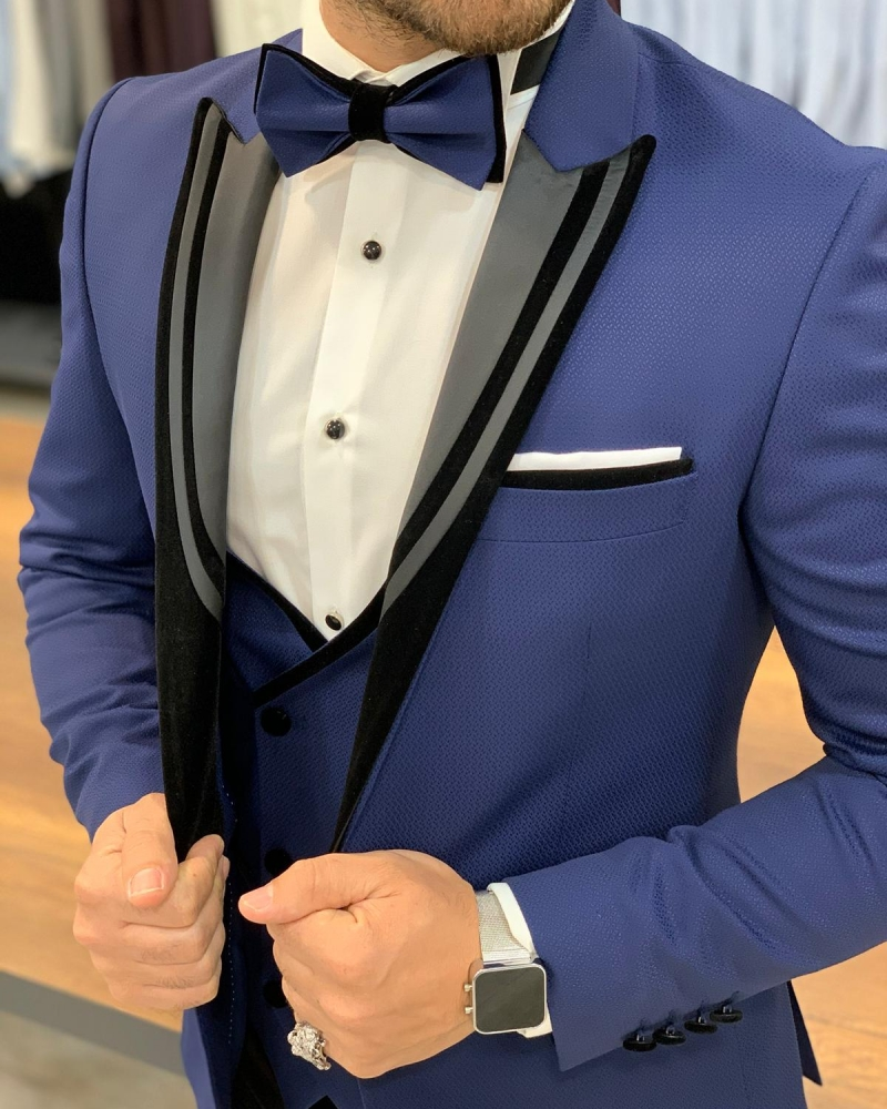 Blue Slim Fit Peak Lapel Tuxedo by GentWith.com with Free Worldwide Shipping