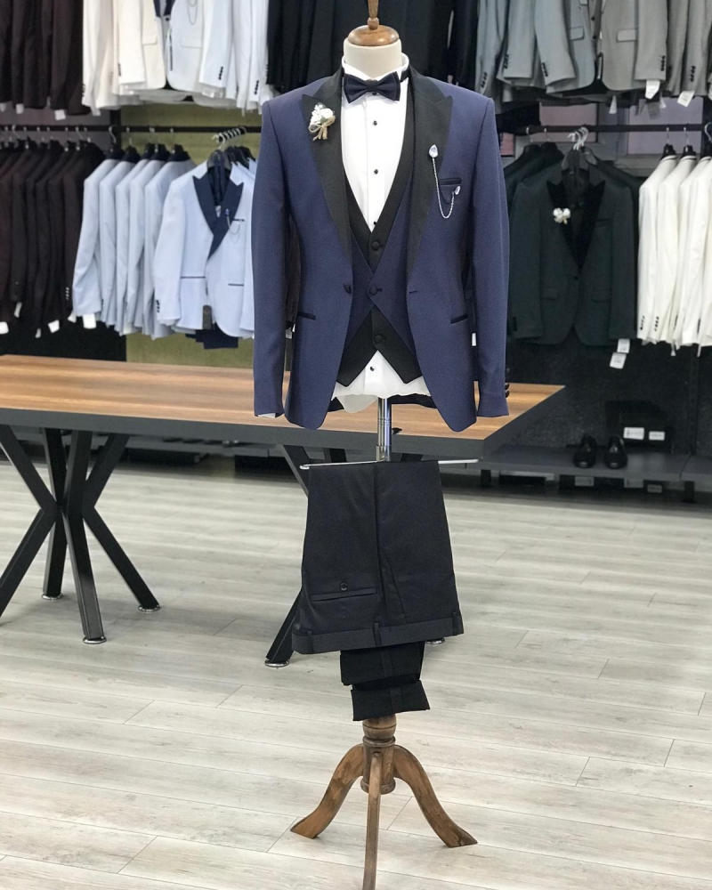 Navy Blue Slim Fit Peak Lapel Tuxedo by GentWith.com with Free Worldwide Shipping