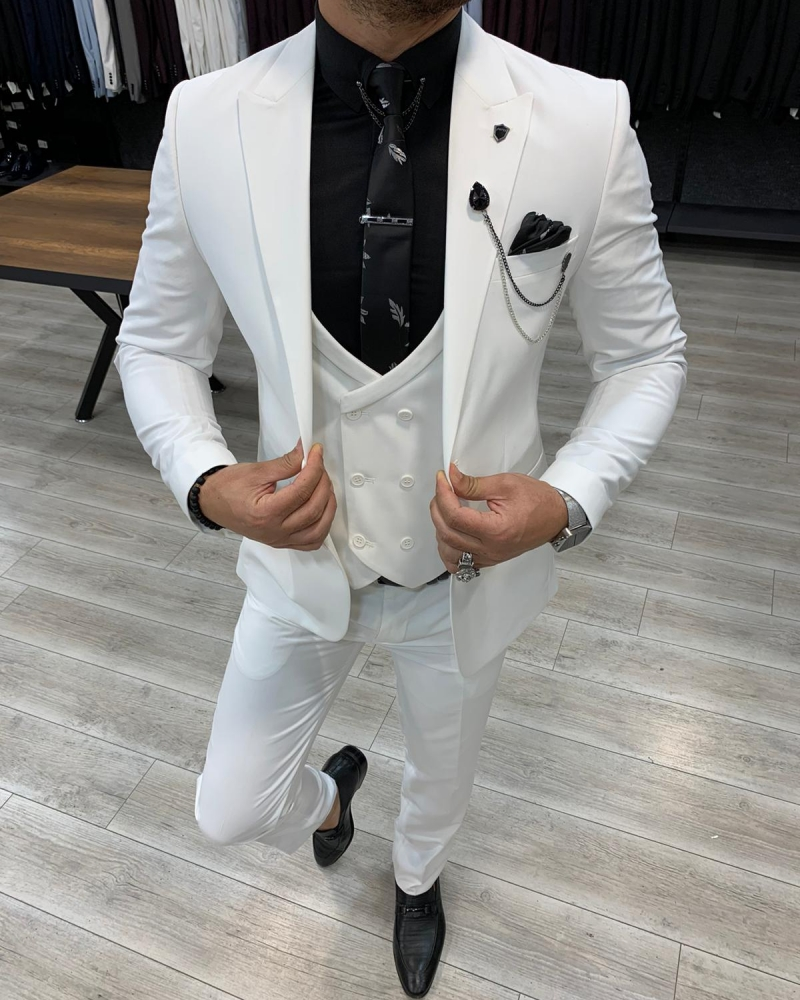 White Slim Fit Wool Suit by GentWith.com with Free Worldwide Shipping