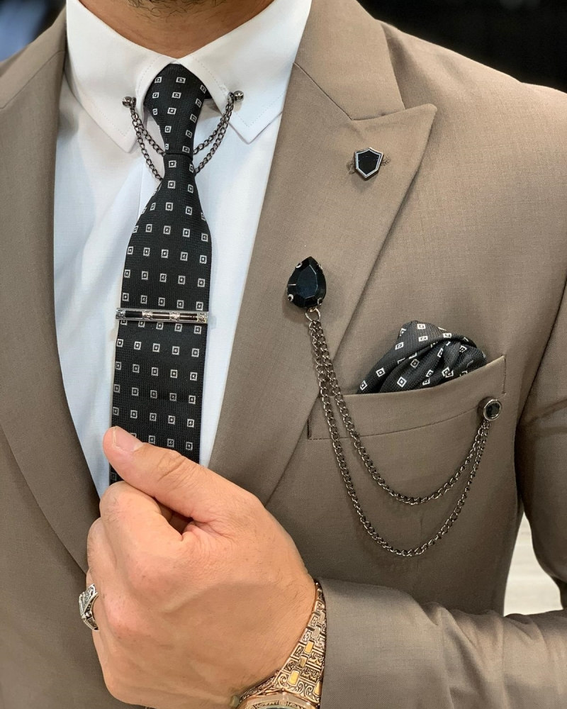 Brown Slim Fit Wool Suit by GentWith.com with Free Worldwide Shipping