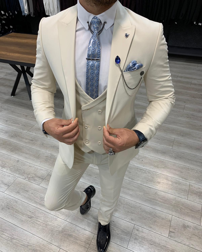 Cream Slim Fit Wool Suit by GentWith.com with Free Worldwide Shipping
