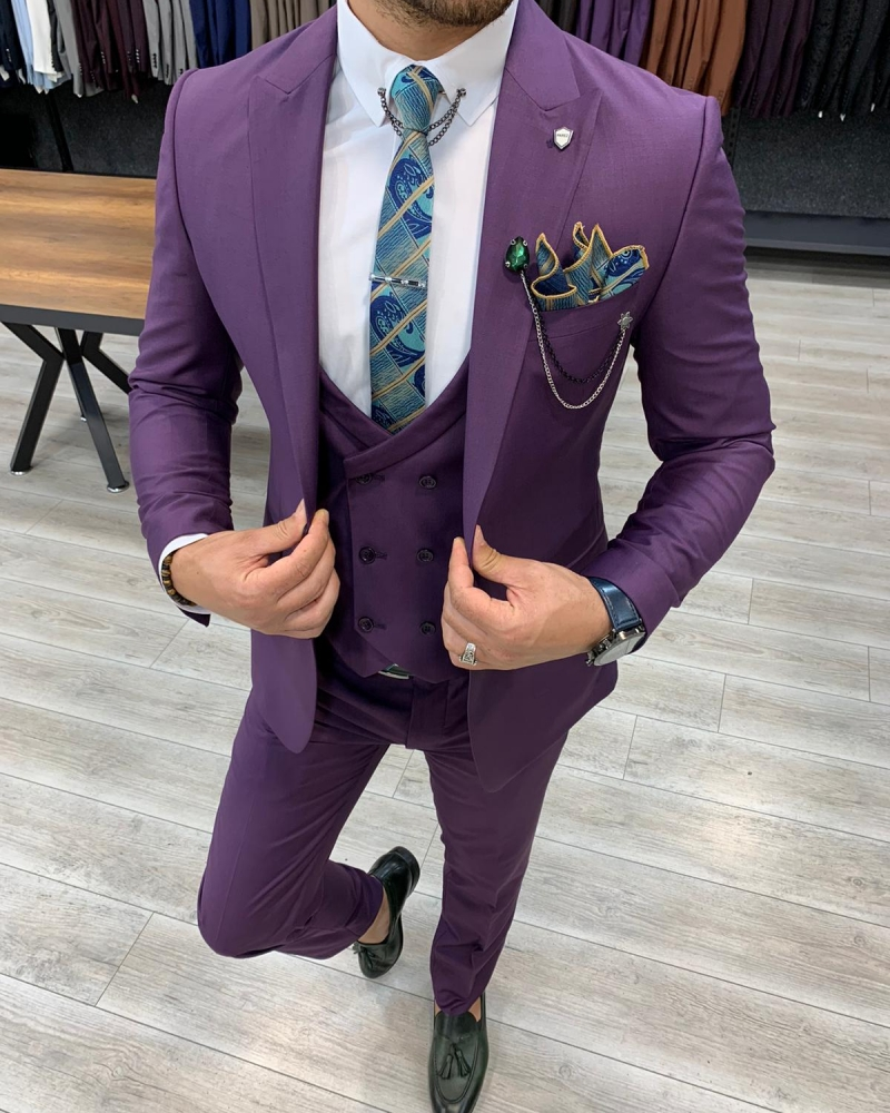 Purple Slim FIt Wool Suit by GentWith.com with Free Worldwide Shipping