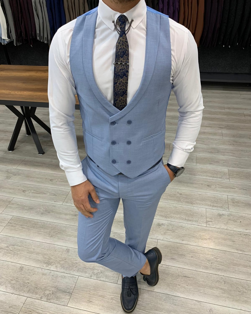 Sky Blue Slim Fit Wool Suit by GentWith.com with Free Worldwide Shipping