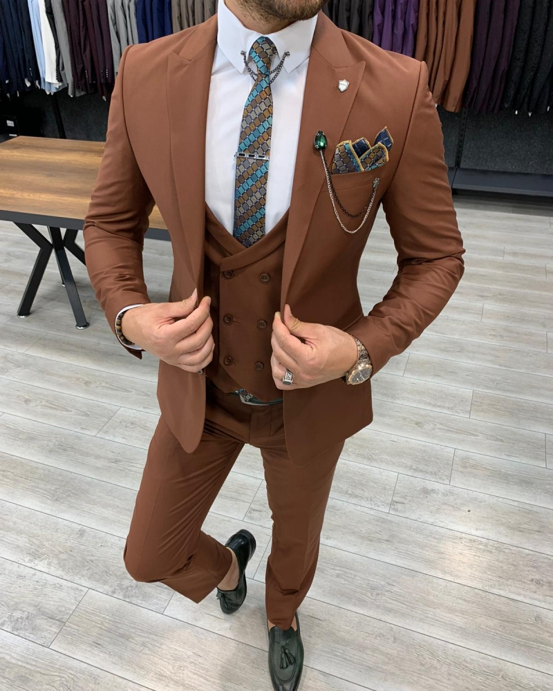 Tile Slim Fit Wool Suit by GentWith.com with Free Worldwide Shipping