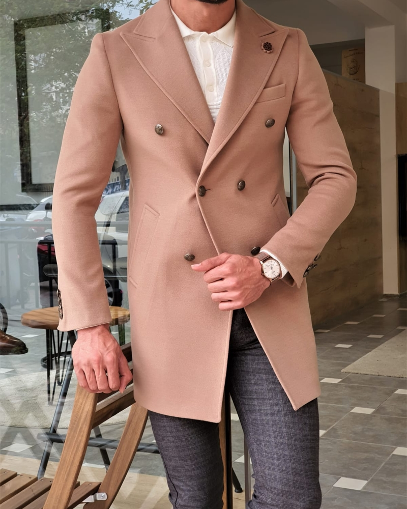 Beige Slim Fit Wool Long Coat by GentWith.com with Free Worldwide Shipping